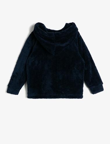 Koton Kids Kapüşonlu Peluş Sweatshirt Lacivert